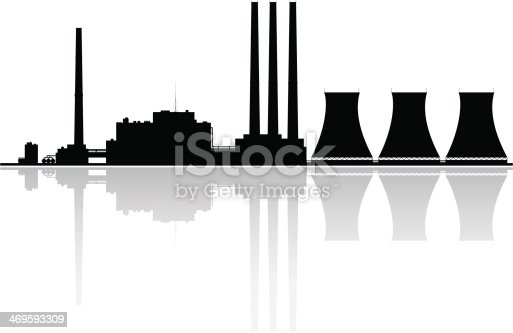 Silhouette of a nuclear power plant.