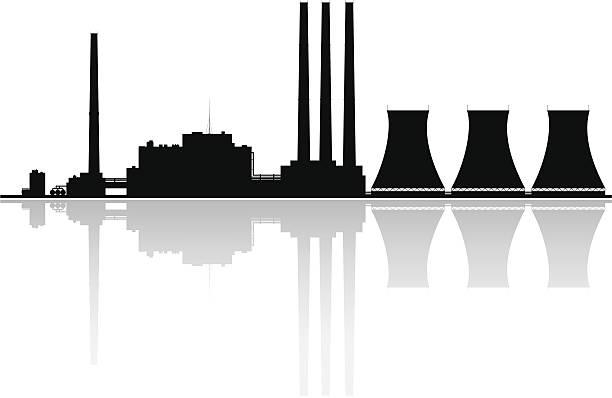 電力プラントシルエット - 環境問題点のイラスト素材/クリップアート素材/マンガ素材/アイコン素材