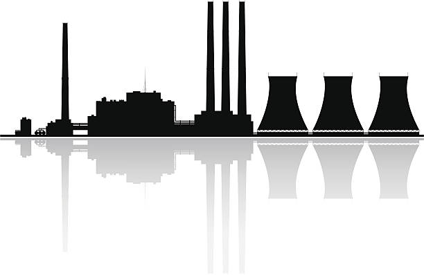 электростанция силуэт - иллюстрации на тему архитектура stock illustrations