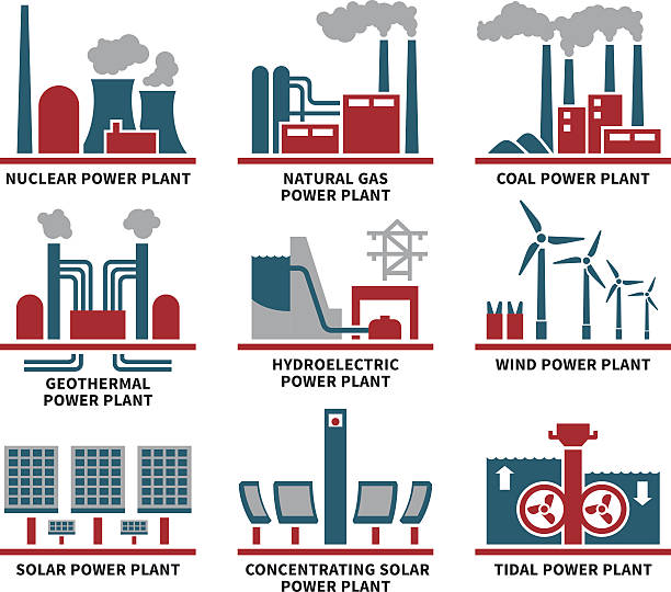 power plant types icon set - гидроэлектростанция stock illustrations