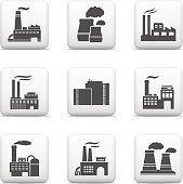 Industrial buildings, power plants and factories. Vector EPS10