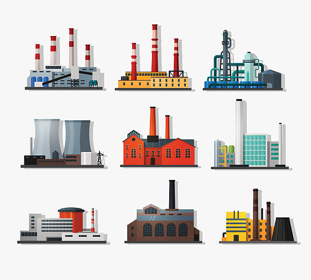 Power plants Power plant icons in flat style and long shadow. Nuclear power plant and chemical plant, old factory and modern plant.   Detailed flat style. power station stock illustrations
