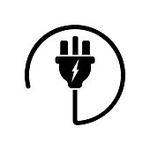 istock Power plug or uk electric plug, electricity symbol icon in black. Forbidden symbol simple on isolated white background. EPS 10 vector. 1217142555