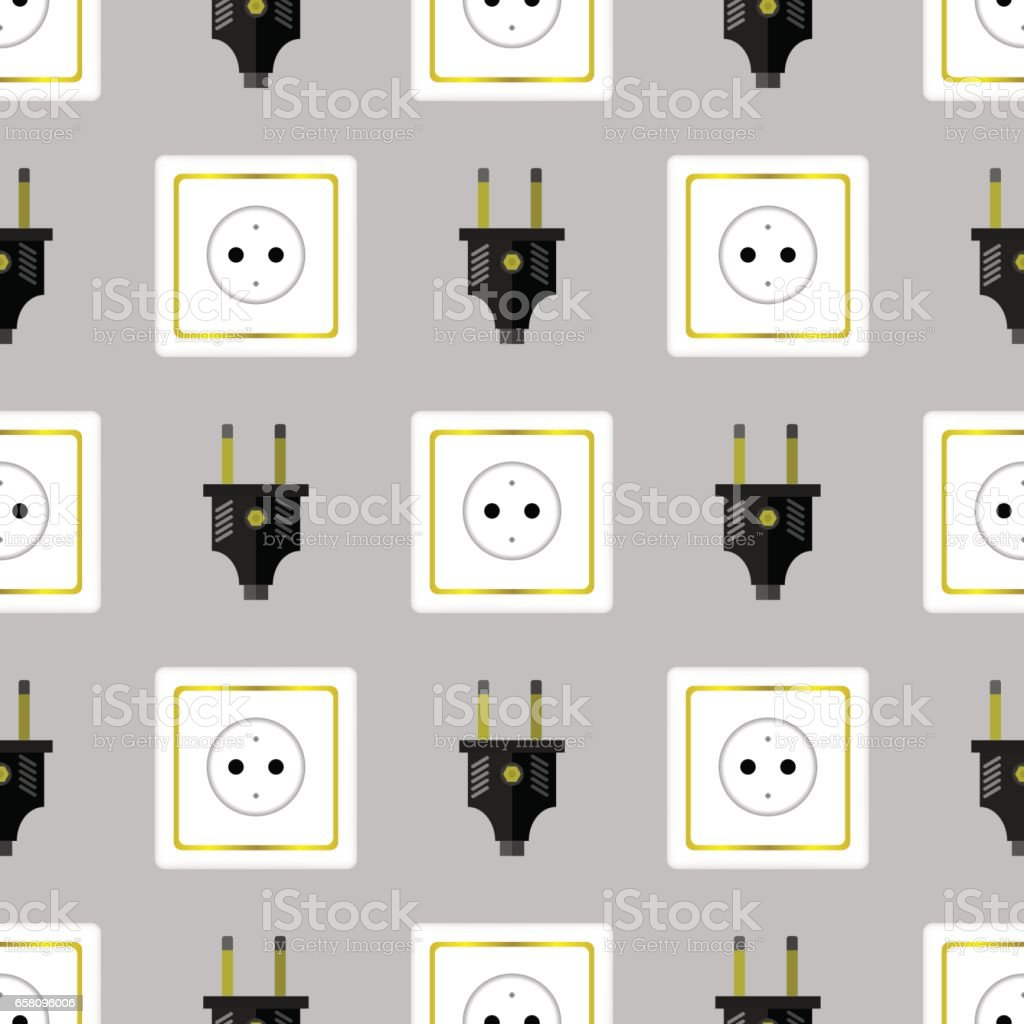Power Plug Seamless Pattern royalty-free power plug seamless pattern stock vector art & more images of backgrounds