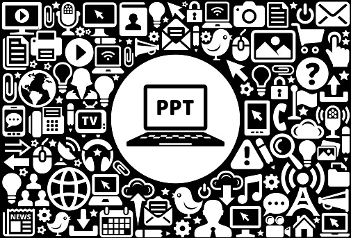 Power Point  Icon Black and White Internet Technology Background