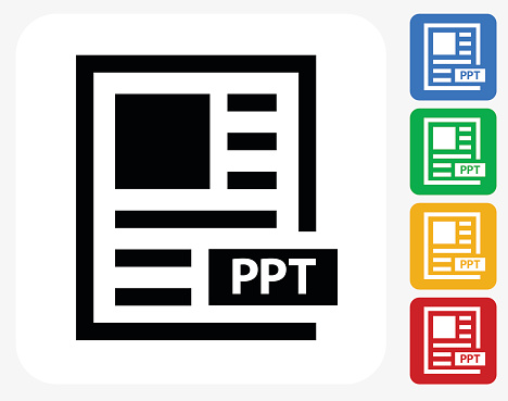 Power Point Text Icon Flat Graphic Design