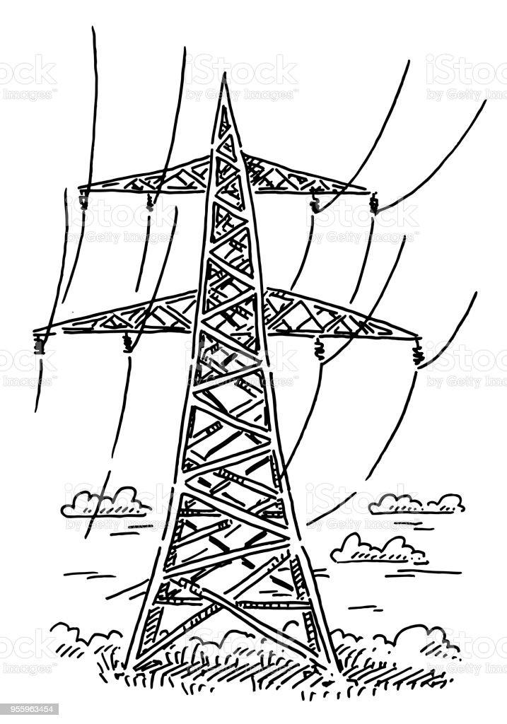 Ilustración de Dibujo De Poste De La Energía y más banco de imágenes ...