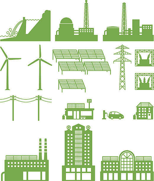 power, power plant, power grid - electrical wiring home stock illustrations, clip art, cartoons, & icons