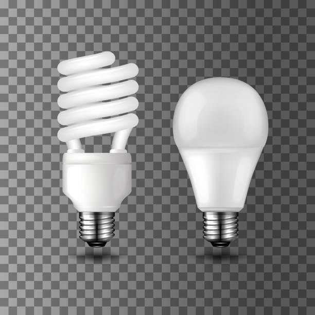 ilustrações, clipart, desenhos animados e ícones de poder salvar e vetor lâmpadas de poupança de energia - led
