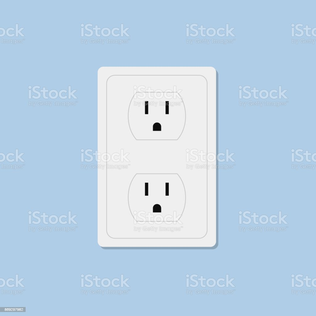 Power socket isolated on blue background - Royalty-free Business Finance and Industry stock vector