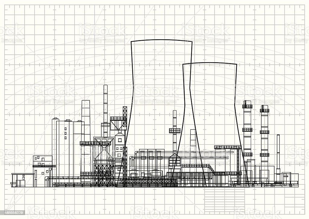 Power Station Blueprint vector art illustration