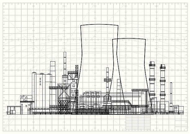 Power Station Blueprint Nuclear Power Plant Blueprint. power station stock illustrations