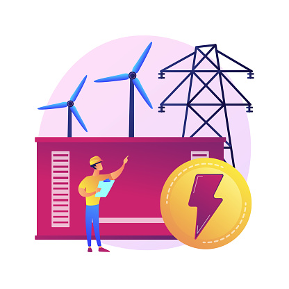Power station, electrical energy generation, electricity production. Power engineer cartoon character. Energy industry, electric plant. Vector isolated concept metaphor illustration.