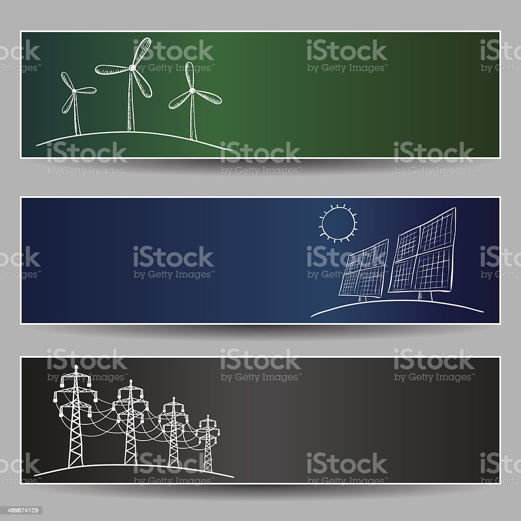 Power station energy banners vector art illustration