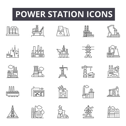 Power station line icons, signs, vector set, linear concept, outline illustration