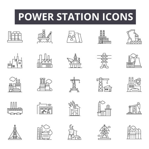 Power station line icons, signs, vector set, linear concept, outline illustration Power station line icons, signs, vector set, outline concept, linear illustration power station stock illustrations