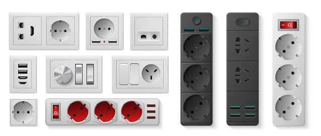 Power strip. Realistic electric socket with USB ports and switches, electricity turn on and off. 3D devices for connecting to circuit with connectors for plugs and cords, vector set