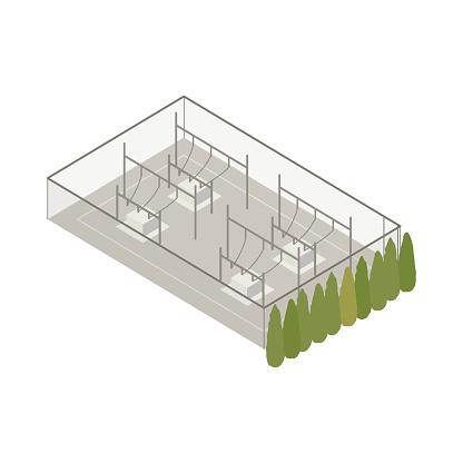 Power substation isometric illustration