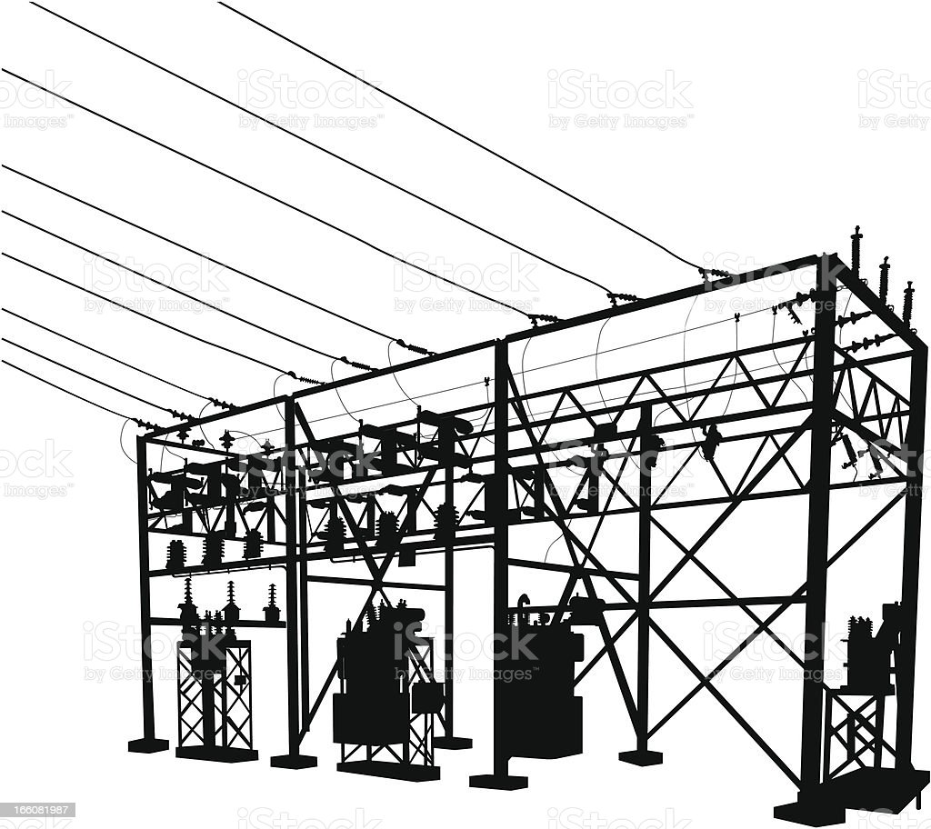 Power Substation Silhouette Stock Vector Art & More Images of Black ...