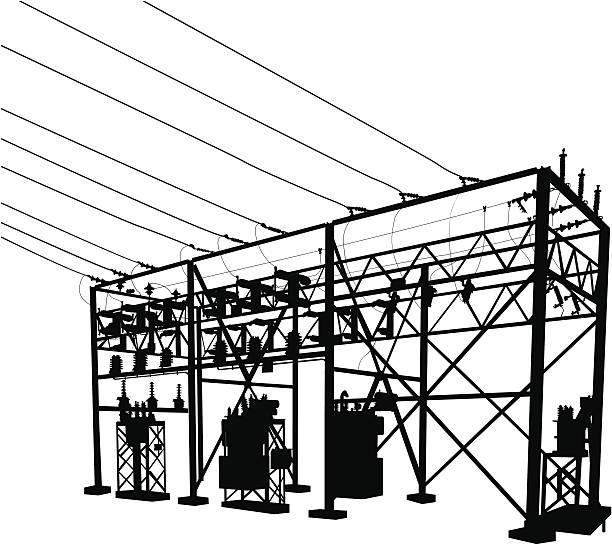 Power Substation Silhouette Power Substation Silhouette transformer stock illustrations