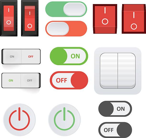 ilustraciones, imágenes clip art, dibujos animados e iconos de stock de interruptor de alimentación - interruptor