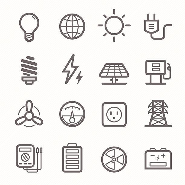 power symbol line icon set vector art illustration
