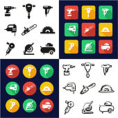 Power Tools All in One Icons Black & White Color Flat Design Freehand Set