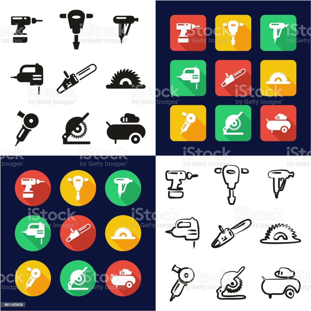 Power Tools All in One Icons Black & White Color Flat Design Freehand Set vector art illustration