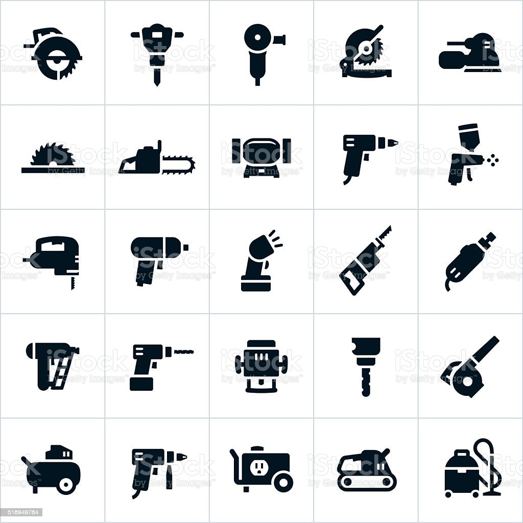 Power Tools and Equipment Icons vector art illustration