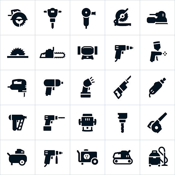 Power Tools and Equipment Icons A set of icons with various common power tools and equipment. The icons include saws, grinders, sanders, chainsaw, drills, paint gun, impact wrench, rotary tool, nail gun, router, leaf blower, air compressor, generator, shop vacuum and others. drill stock illustrations