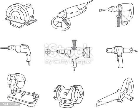 Vector power tools doodles set.