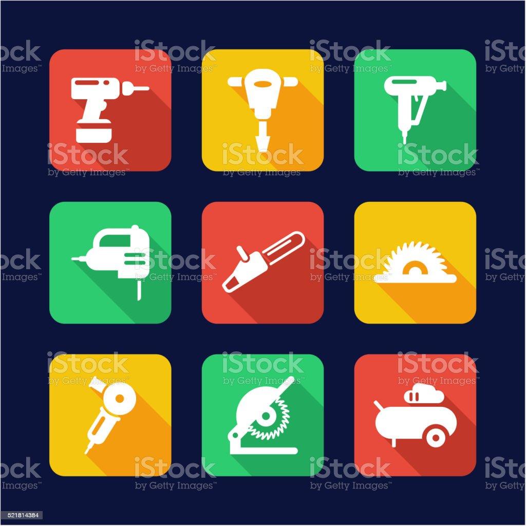 Power Tools Icons Flat Design vector art illustration