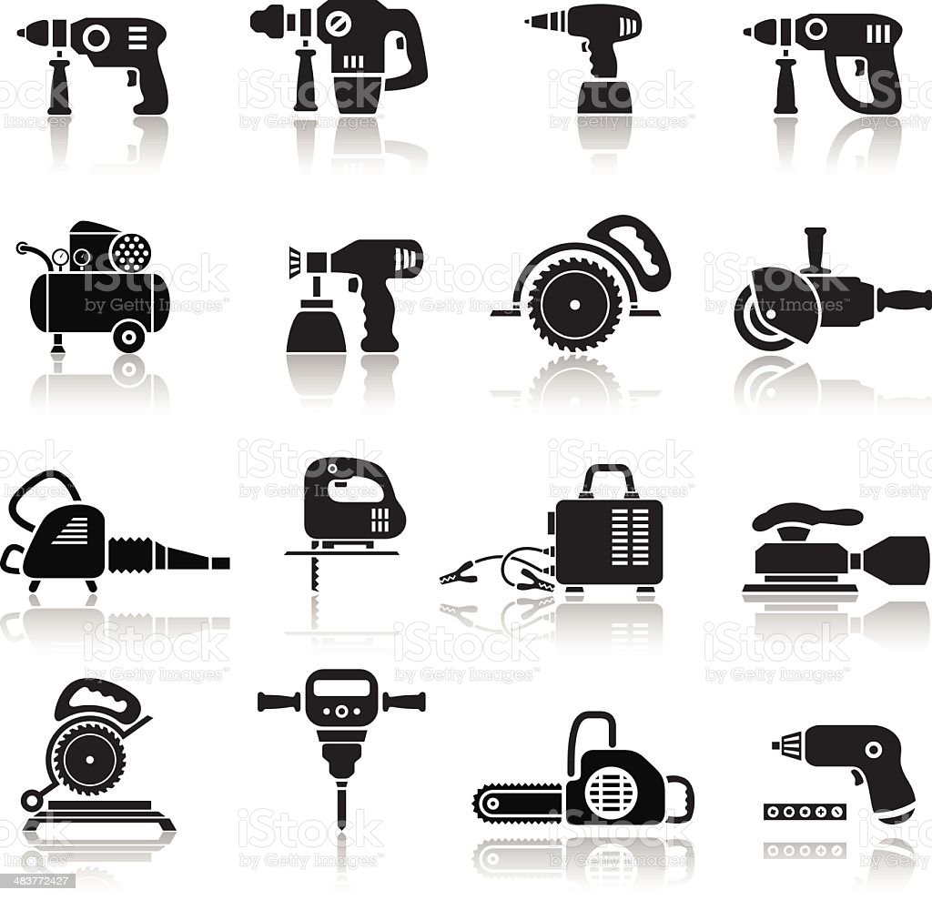 Power Tools Icons Set vector art illustration