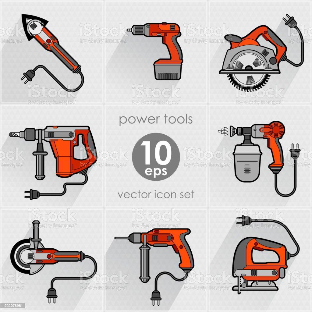 Power tools Icons set vector art illustration