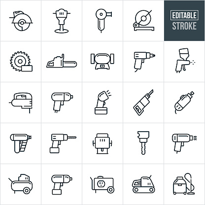 A set of power tools icons that include editable strokes or outlines using the EPS vector file. The icons include a circular saw, jack hammer, grinder, miter saw, saw bade, chainsaw, drill, paint sprayer, jig saw, impact wrench, flash light, reciprocating saw, rotary tool, nail gun, router, drill press, heat gun, air compressor, impact gun, generator, sander and shop vacuum.