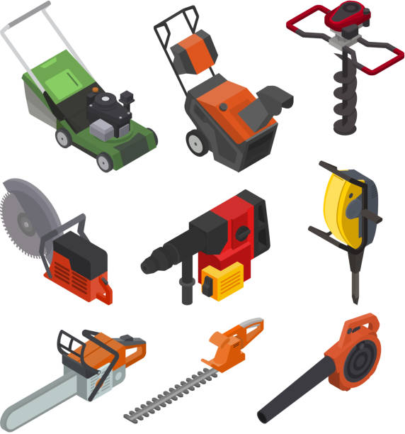 Power tools vector electric construction equipment circular-saw lawn mower power-planer illustration isometric set of electric jig-saw grass-cutter isolated on white background vector art illustration