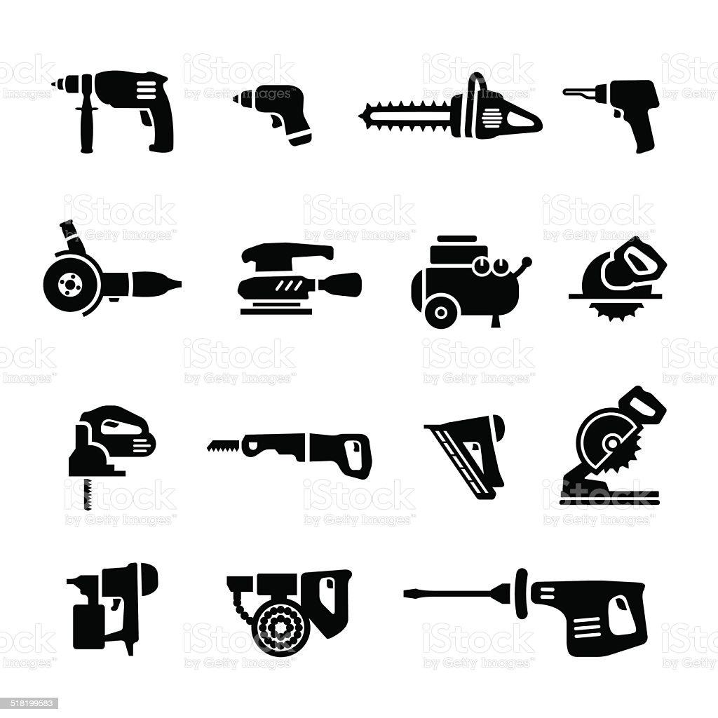 Power tools - vector set icons vector art illustration