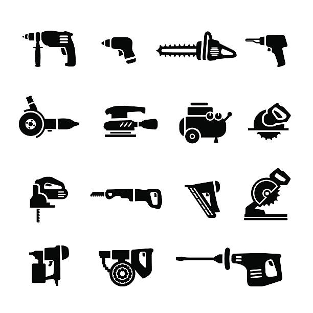 Power tools - vector set icons Power tools icons set. High Resolution JPG,CS4 AI and Illustrator EPS 10 included. electric saw stock illustrations