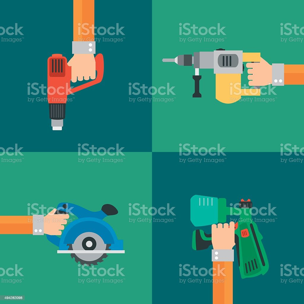 Power Tools vector,modern design style flat vector art illustration