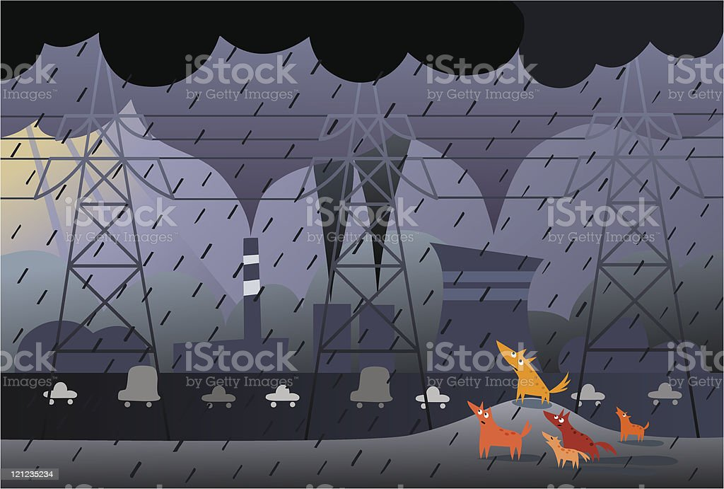 Power transmission, dogs and pollution vector art illustration