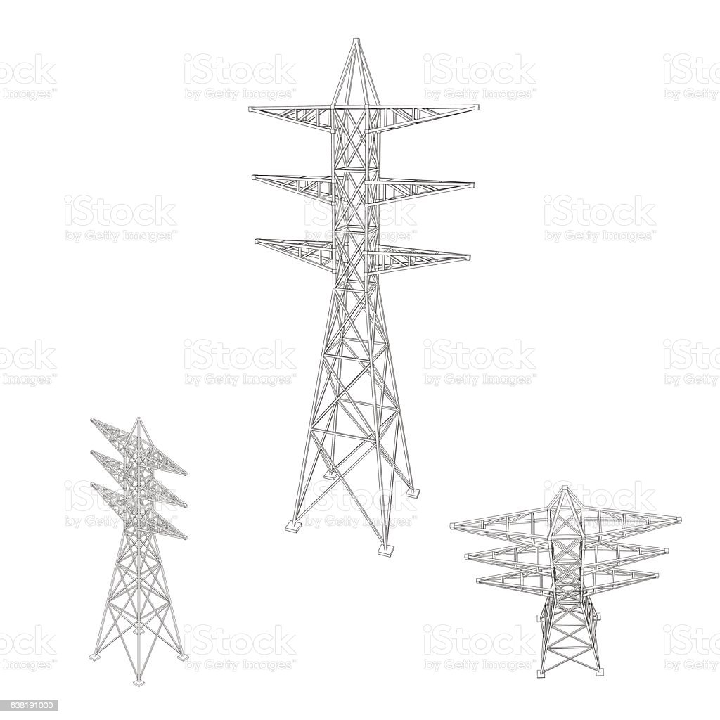 Vetores De Power Transmission Tower Setisolated On Whitevector Outline Illustration E Mais Imagens De Alta Voltagem Istock