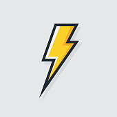 Power vector symbol. Electric lightning bold logotype isolated on white background for electric power icon, poster, t shirt. Thunder icon. Storm pictogram. Flash light sign. 10 eps