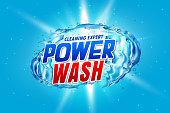power wash detergent packaging concept with water splash
