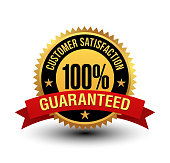istock Powerful 100% customer satisfaction guaranteed badge with red ribbon. 1135795506