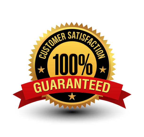 Powerful 100% customer satisfaction guaranteed badge with red ribbon. This 100% satisfaction guarantee badge will convey/support that, your product/service are completely reliable & authentic. By this badge customer will know that this product/service will meet there expectation. service stock illustrations