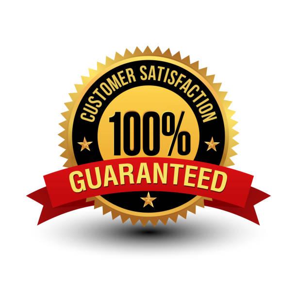 powerful 100% customer satisfaction guaranteed badge with red ribbon. - customer service stock illustrations