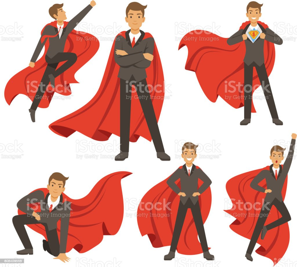 Powerful businessman in different action superhero poses. Vector illustrations in cartoon style vector art illustration