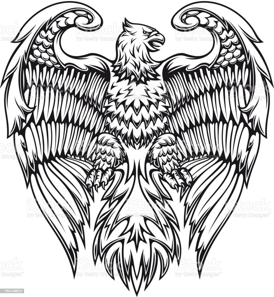 Powerful eagle or griffin royalty-free stock vector art