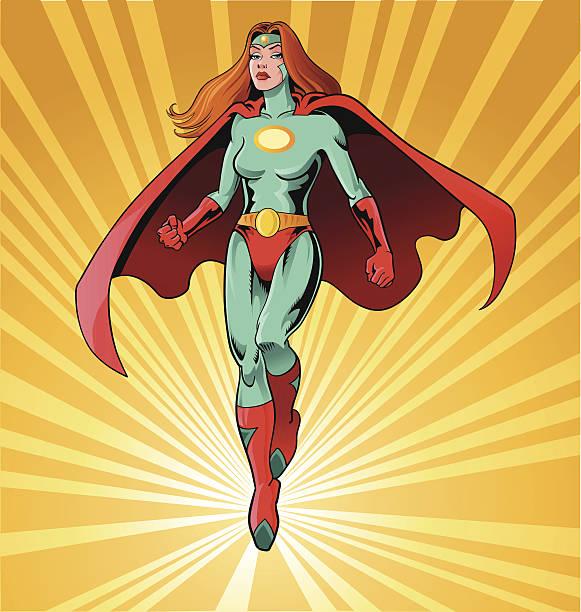 powerful female superhero - superhero stock illustrations, clip art, cartoons, & icons
