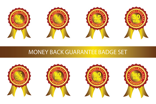 Powerful money back guarantee badge, seal, sign, label set with gold ribbon